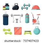 different equipment for gym.... | Shutterstock .eps vector #737407423