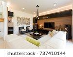 modern living room interior of... | Shutterstock . vector #737410144