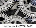 macro photo of tooth wheel... | Shutterstock . vector #737412403