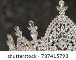 diamond silver crown for miss... | Shutterstock . vector #737415793