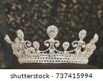 diamond silver crown for miss... | Shutterstock . vector #737415994