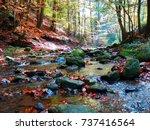 beautiful autumnal mountains... | Shutterstock . vector #737416564