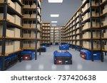 3d rendering warehouse robot... | Shutterstock . vector #737420638