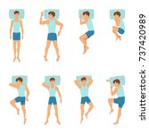 different positions of sleeping ... | Shutterstock .eps vector #737420989
