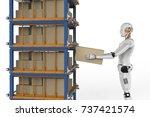 3d rendering humanoid robots... | Shutterstock . vector #737421574