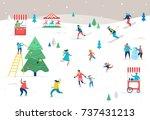 winter sport scene  christmas... | Shutterstock .eps vector #737431213