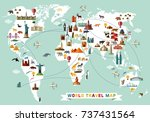 cartoon world map with animal... | Shutterstock .eps vector #737431564