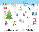 winter sport scene  christmas... | Shutterstock .eps vector #737432878