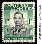 Small photo of MOSCOW, September 2, 2017: SOUTHERN RHODESIA - CIRCA 1937: A stamp printed in Southern Rhodesia, shows the portrait King George VI, circa 1937
