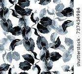 ink leaves seamless pattern.... | Shutterstock . vector #737434984