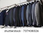 stylish male jackets in... | Shutterstock . vector #737438326