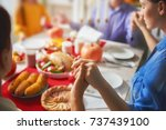 happy thanksgiving day  autumn... | Shutterstock . vector #737439100