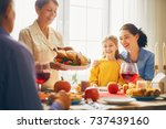 happy thanksgiving day  autumn... | Shutterstock . vector #737439160