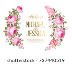 marriage invitation card. rose... | Shutterstock .eps vector #737440519