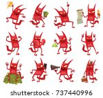 vector set of twelve cartoon... | Shutterstock .eps vector #737440996