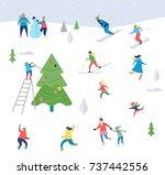 winter sport scene  christmas... | Shutterstock .eps vector #737442556