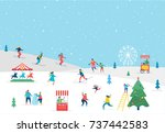 winter sport scene  christmas... | Shutterstock .eps vector #737442583