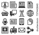 media news icon set.  | Shutterstock . vector #737443840