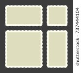 blank postage stamps set on... | Shutterstock . vector #737444104