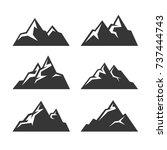 mountain icons set on white... | Shutterstock . vector #737444743