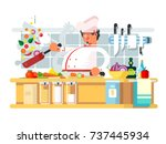 professional chef prepares in... | Shutterstock .eps vector #737445934