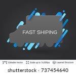black badge truck silhouette... | Shutterstock .eps vector #737454640