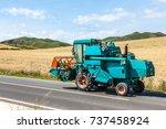 tractor harvest | Shutterstock . vector #737458924