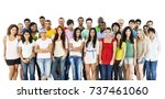 large group of diverse people | Shutterstock . vector #737461060