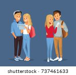 young  couples with gadgets and ... | Shutterstock .eps vector #737461633