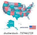 united states map and flag  ... | Shutterstock .eps vector #737461729