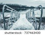 kayak boat dock by lake river... | Shutterstock . vector #737463430