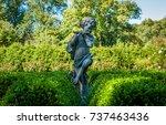 isolated garden statue.... | Shutterstock . vector #737463436