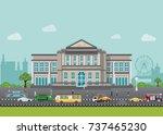bank building exterior in city... | Shutterstock .eps vector #737465230