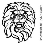 a mean looking lion face... | Shutterstock .eps vector #737466094