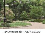 nature walk pathway. path down... | Shutterstock . vector #737466109