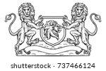 a medieval heraldic coat of... | Shutterstock .eps vector #737466124