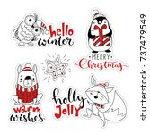 vector christmas labels set.... | Shutterstock .eps vector #737479549