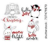 vector christmas sticker set.... | Shutterstock .eps vector #737479870