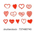 hand drawn hearts vector... | Shutterstock .eps vector #737480740