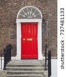 georgian red door   dublin ... | Shutterstock . vector #737481133