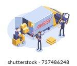 fast delivery concept. van  man ... | Shutterstock .eps vector #737486248