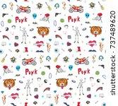 rock doodle trendy festival... | Shutterstock . vector #737489620