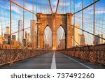 brooklyn bridge  new york city  ... | Shutterstock . vector #737492260