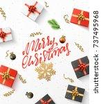 merry christmas background.... | Shutterstock .eps vector #737495968