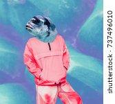 fun art collage fish man modern ... | Shutterstock . vector #737496010