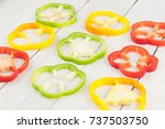 slices of colored red and green ... | Shutterstock . vector #737503750