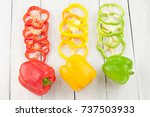 slices of red and green and... | Shutterstock . vector #737503933