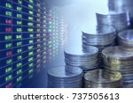 stacks of coins money and stock ... | Shutterstock . vector #737505613