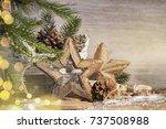 stylish rustic christmas... | Shutterstock . vector #737508988