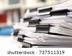 stack of documents with binder... | Shutterstock . vector #737511319